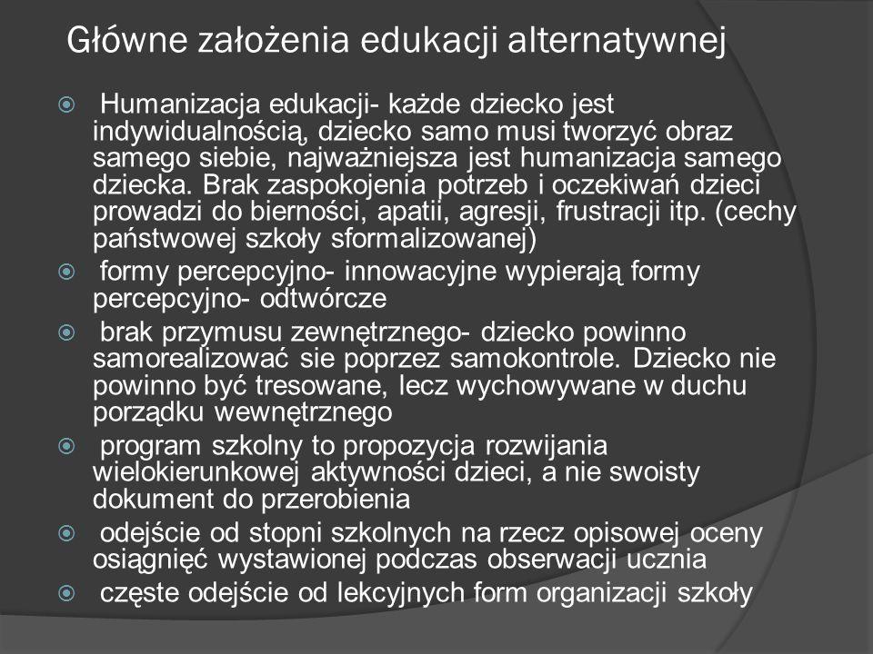 Cechy szkół alternatywnych to: Autonomia i samorządność większa niż w szkolnictwie publicznym.