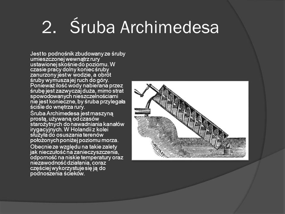 2. Śruba Archimedesa Jest to podnośnik zbudowany ze śruby umieszczonej wewnątrz rury ustawionej skośnie do poziomu. W czasie pracy dolny koniec śruby