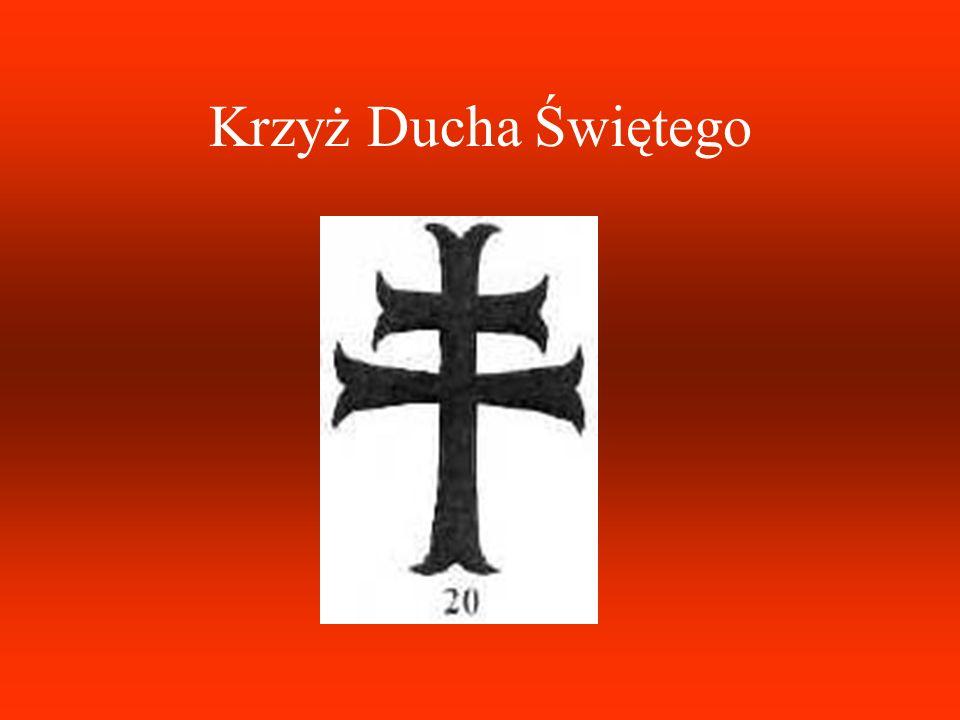 Krzyż trójramienny jest zakończony trójliśćmi. Symbolizuje okultystyczną teorię potrójnego świata: fizycznego, astralnego i duchowego. Krzyż ten przyp
