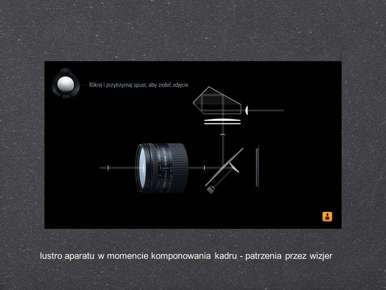 lustro aparatu w momencie komponowania kadru - patrzenia przez wizjer