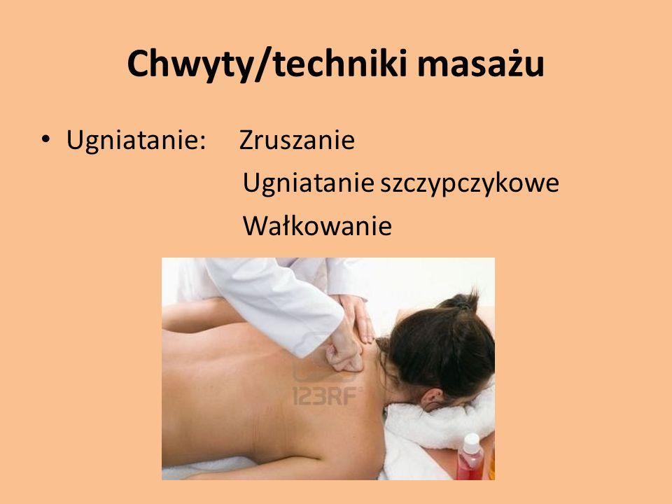 Chwyty/techniki masażu Ugniatanie: Zruszanie Ugniatanie szczypczykowe Wałkowanie