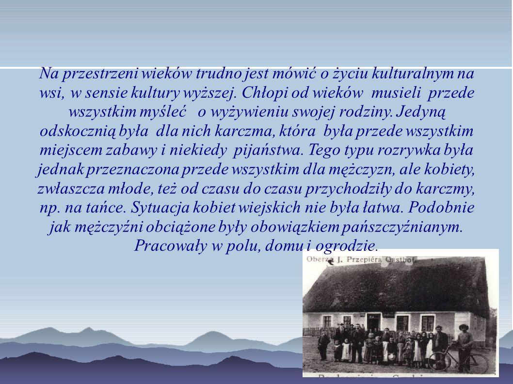 Na przestrzeni wieków trudno jest mówić o życiu kulturalnym na wsi, w sensie kultury wyższej. Chłopi od wieków musieli przede wszystkim myśleć o wyżyw