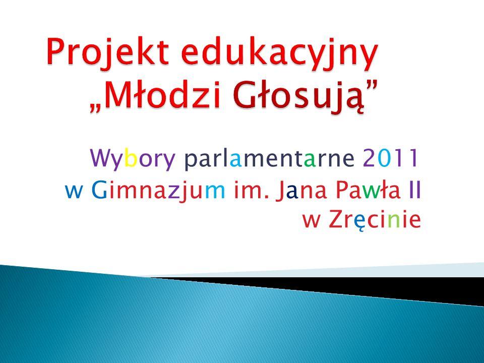 Wybory parlamentarne 2011 w Gimnazjum im. Jana Pawła II w Zręcinie