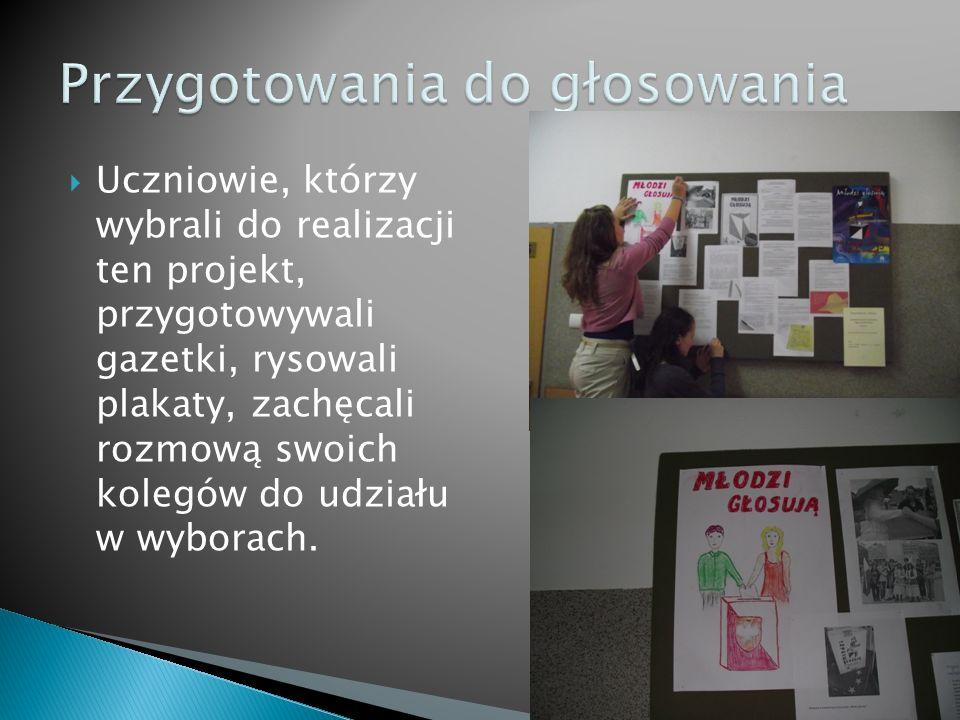 Uczniowie, którzy wybrali do realizacji ten projekt, przygotowywali gazetki, rysowali plakaty, zachęcali rozmową swoich kolegów do udziału w wyborach.