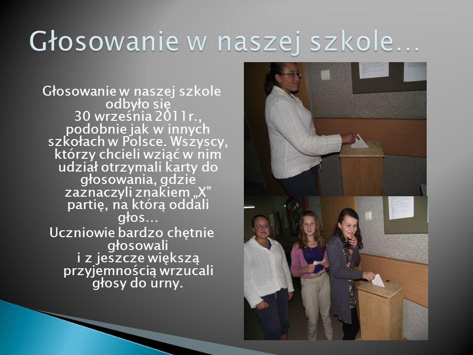 Głosowanie w naszej szkole odbyło się 30 września 2011r., podobnie jak w innych szkołach w Polsce. Wszyscy, którzy chcieli wziąć w nim udział otrzymal