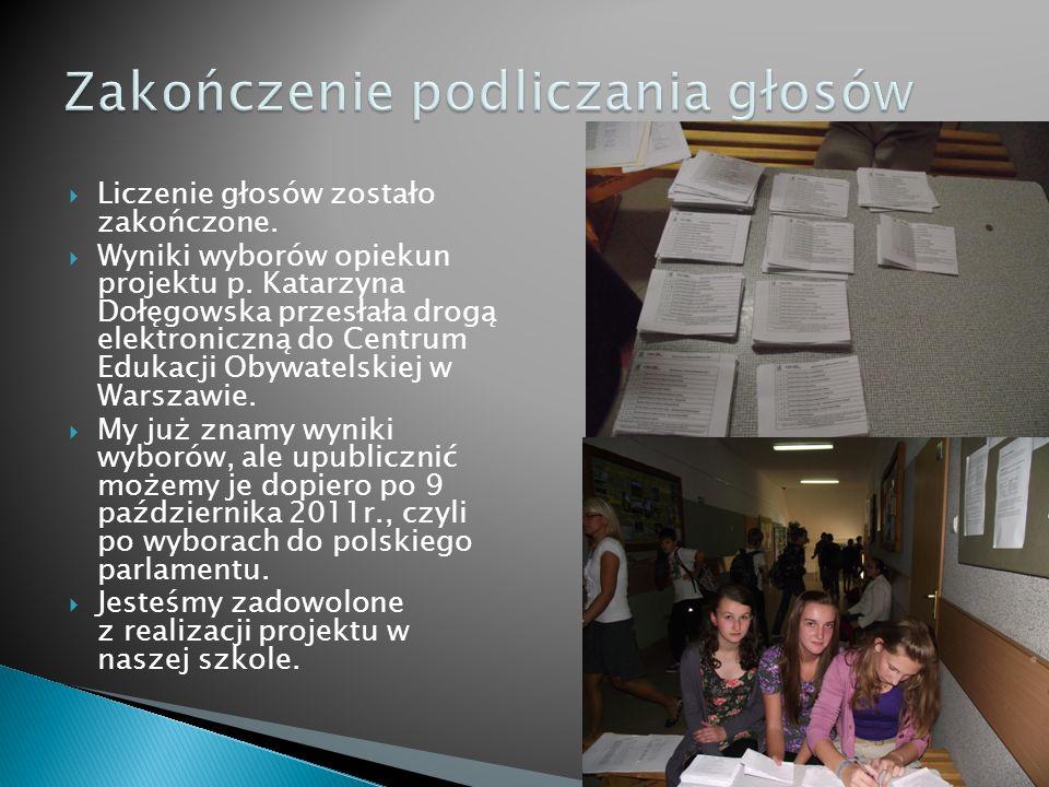 Liczenie głosów zostało zakończone. Wyniki wyborów opiekun projektu p. Katarzyna Dołęgowska przesłała drogą elektroniczną do Centrum Edukacji Obywatel