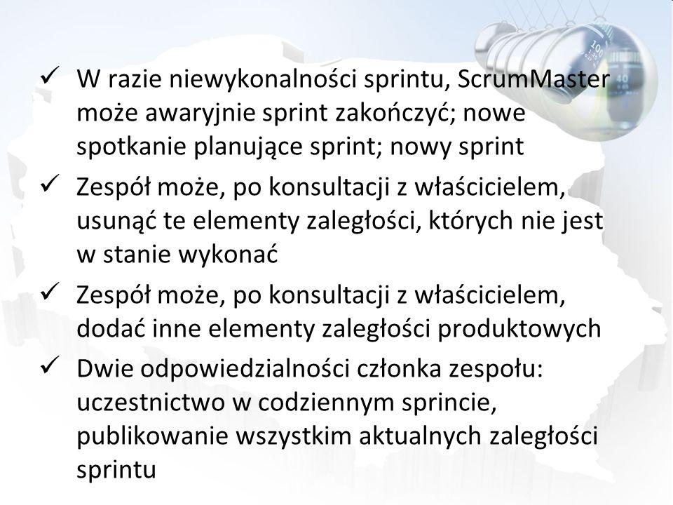 W razie niewykonalności sprintu, ScrumMaster może awaryjnie sprint zakończyć; nowe spotkanie planujące sprint; nowy sprint Zespół może, po konsultacji