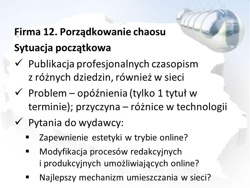 Firma 12. Porządkowanie chaosu Sytuacja początkowa Publikacja profesjonalnych czasopism z różnych dziedzin, również w sieci Problem – opóźnienia (tylk