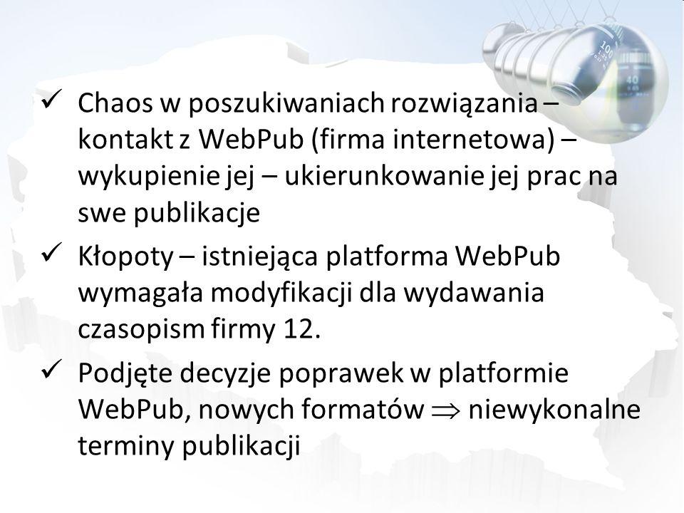 Chaos w poszukiwaniach rozwiązania – kontakt z WebPub (firma internetowa) – wykupienie jej – ukierunkowanie jej prac na swe publikacje Kłopoty – istni