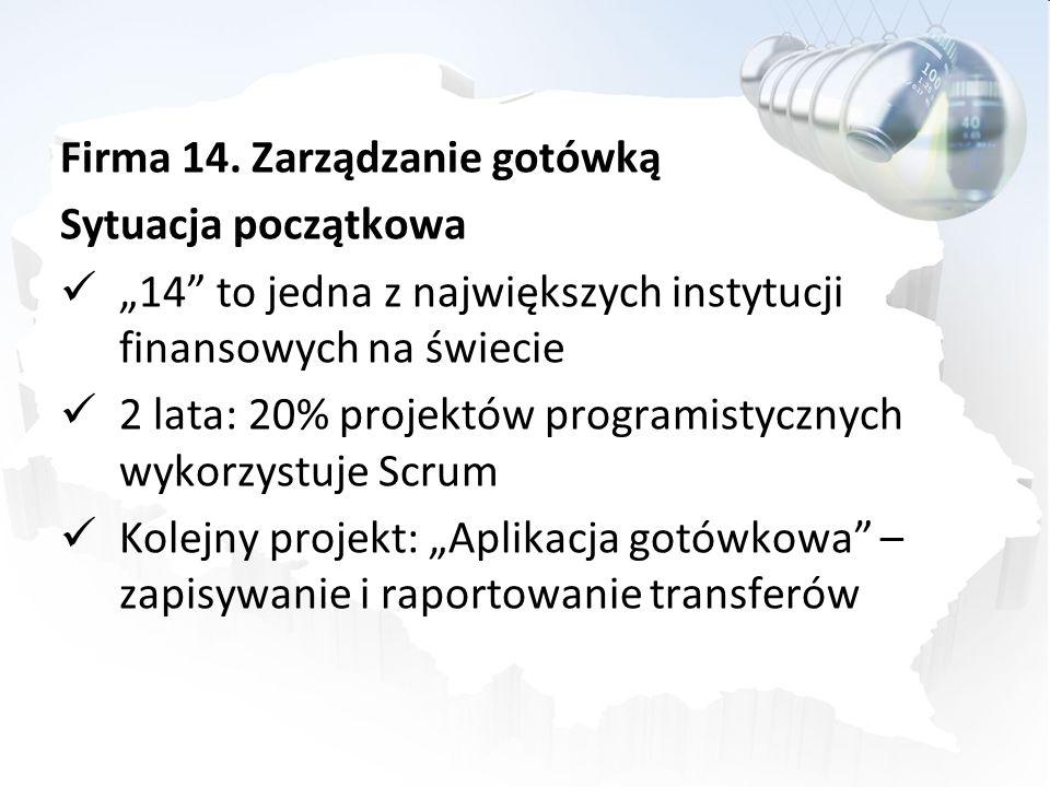 Firma 14. Zarządzanie gotówką Sytuacja początkowa 14 to jedna z największych instytucji finansowych na świecie 2 lata: 20% projektów programistycznych