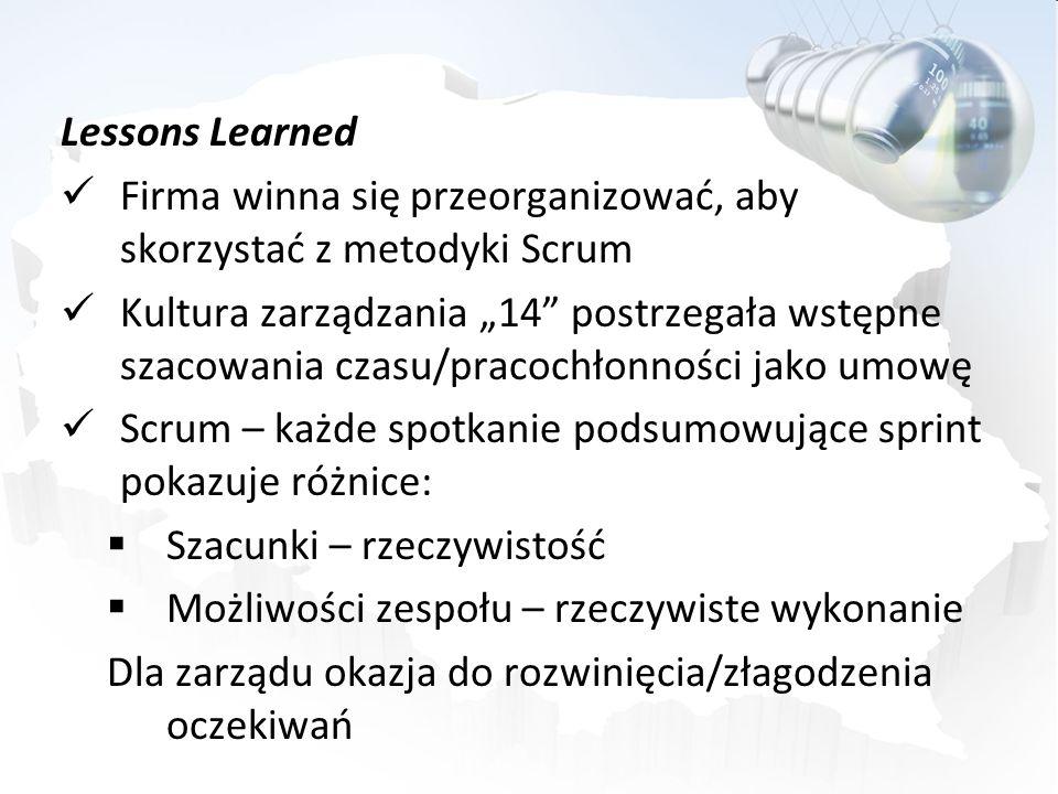Lessons Learned Firma winna się przeorganizować, aby skorzystać z metodyki Scrum Kultura zarządzania 14 postrzegała wstępne szacowania czasu/pracochło