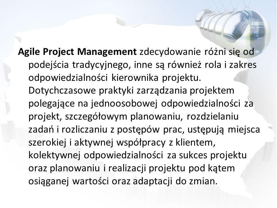 Agile Project Management zdecydowanie różni się od podejścia tradycyjnego, inne są również rola i zakres odpowiedzialności kierownika projektu. Dotych