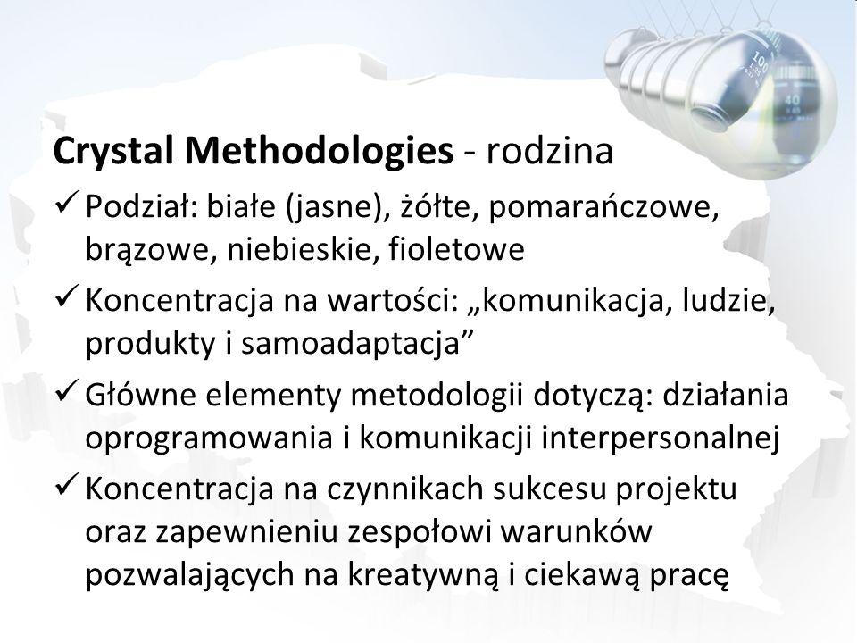 Crystal Methodologies - rodzina Podział: białe (jasne), żółte, pomarańczowe, brązowe, niebieskie, fioletowe Koncentracja na wartości: komunikacja, lud