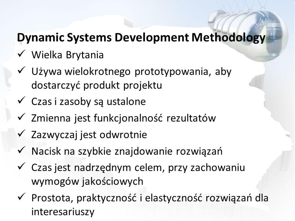 Dynamic Systems Development Methodology Wielka Brytania Używa wielokrotnego prototypowania, aby dostarczyć produkt projektu Czas i zasoby są ustalone