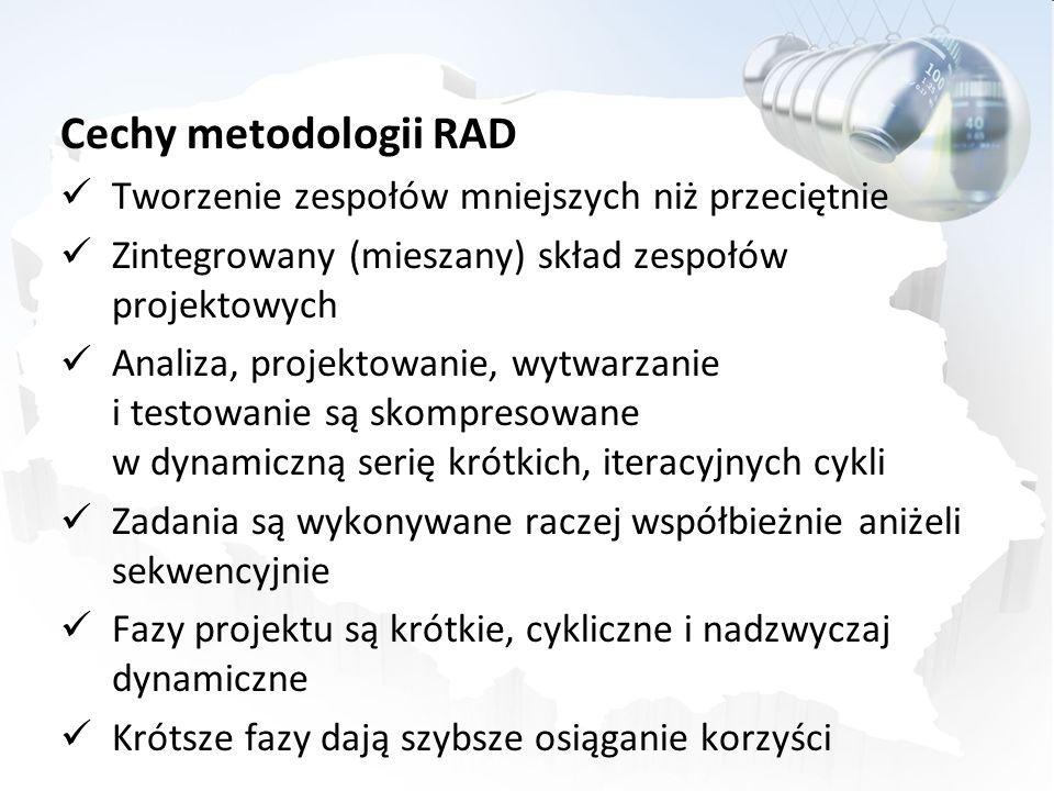 Cechy metodologii RAD Tworzenie zespołów mniejszych niż przeciętnie Zintegrowany (mieszany) skład zespołów projektowych Analiza, projektowanie, wytwar