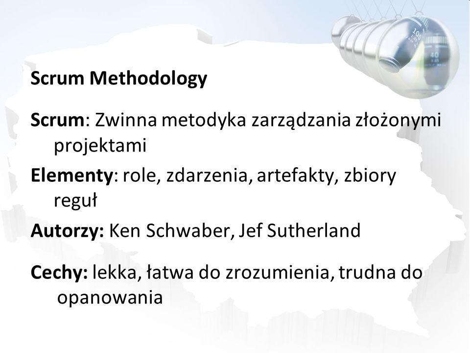 Scrum Methodology Scrum: Zwinna metodyka zarządzania złożonymi projektami Elementy: role, zdarzenia, artefakty, zbiory reguł Autorzy: Ken Schwaber, Je