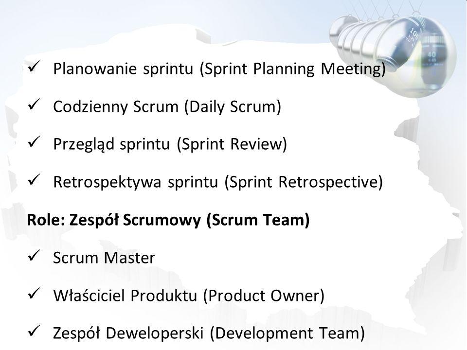 Planowanie sprintu (Sprint Planning Meeting) Codzienny Scrum (Daily Scrum) Przegląd sprintu (Sprint Review) Retrospektywa sprintu (Sprint Retrospectiv