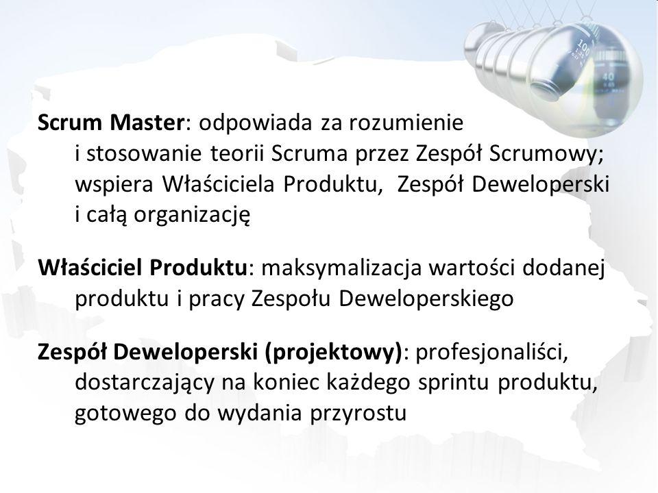 Scrum Master: odpowiada za rozumienie i stosowanie teorii Scruma przez Zespół Scrumowy; wspiera Właściciela Produktu, Zespół Deweloperski i całą organ