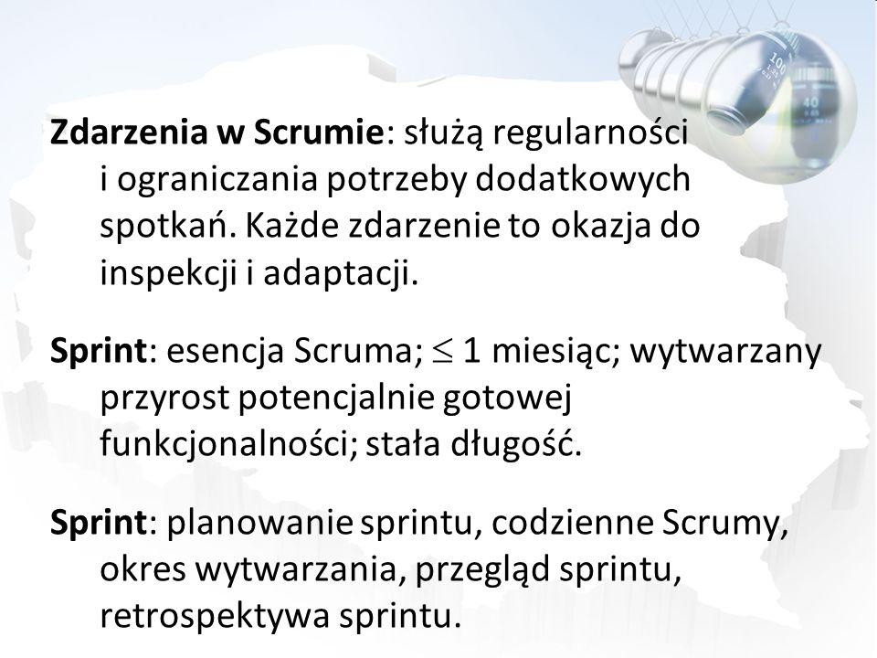 Zdarzenia w Scrumie: służą regularności i ograniczania potrzeby dodatkowych spotkań. Każde zdarzenie to okazja do inspekcji i adaptacji. Sprint: esenc