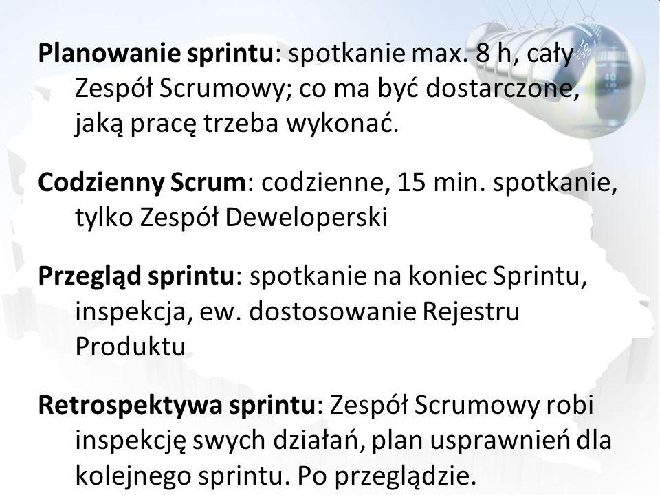 Planowanie sprintu: spotkanie max. 8 h, cały Zespół Scrumowy; co ma być dostarczone, jaką pracę trzeba wykonać. Codzienny Scrum: codzienne, 15 min. sp