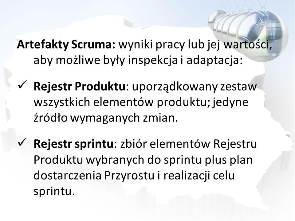 Artefakty Scruma: wyniki pracy lub jej wartości, aby możliwe były inspekcja i adaptacja: Rejestr Produktu: uporządkowany zestaw wszystkich elementów p