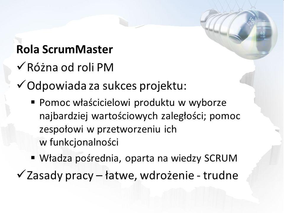 Rola ScrumMaster Różna od roli PM Odpowiada za sukces projektu: Pomoc właścicielowi produktu w wyborze najbardziej wartościowych zaległości; pomoc zes