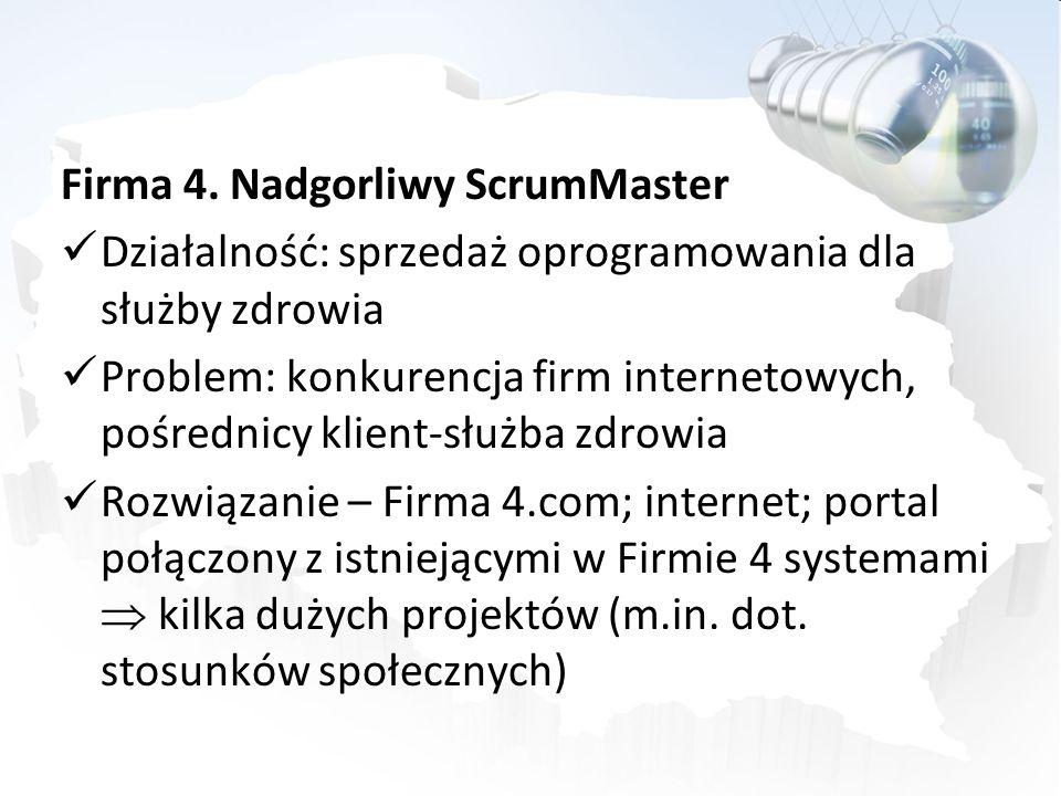 Firma 4. Nadgorliwy ScrumMaster Działalność: sprzedaż oprogramowania dla służby zdrowia Problem: konkurencja firm internetowych, pośrednicy klient-słu