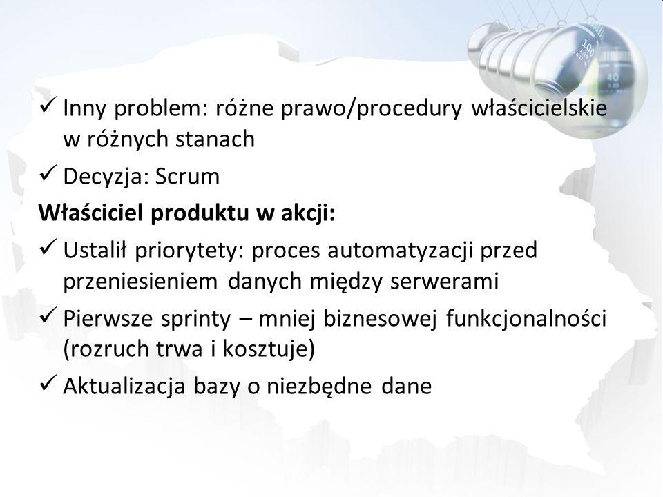 Inny problem: różne prawo/procedury właścicielskie w różnych stanach Decyzja: Scrum Właściciel produktu w akcji: Ustalił priorytety: proces automatyza