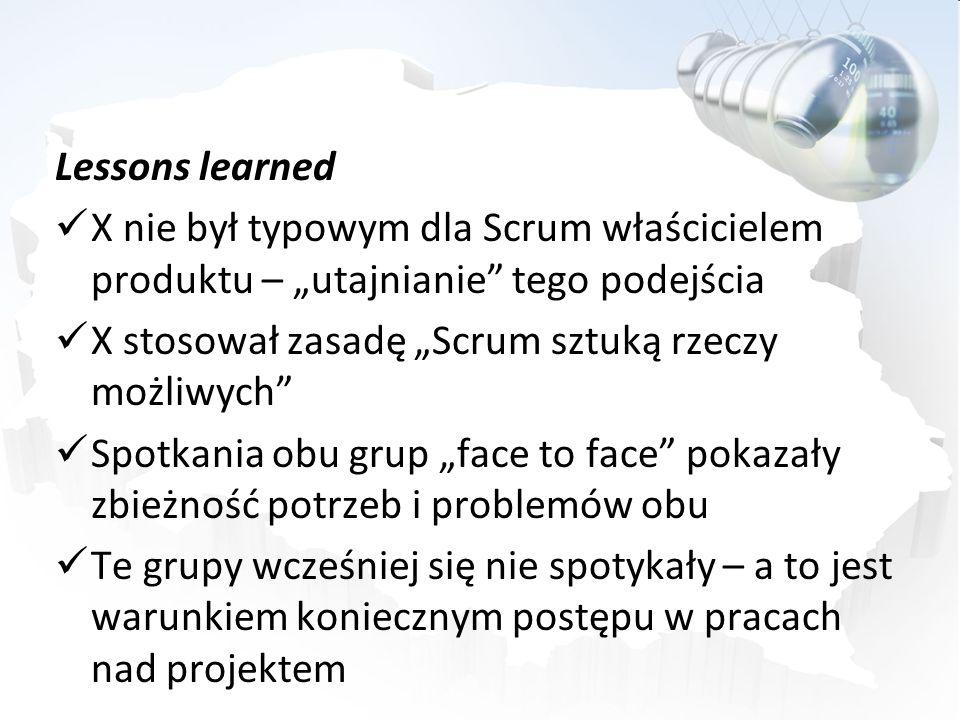 Lessons learned X nie był typowym dla Scrum właścicielem produktu – utajnianie tego podejścia X stosował zasadę Scrum sztuką rzeczy możliwych Spotkani