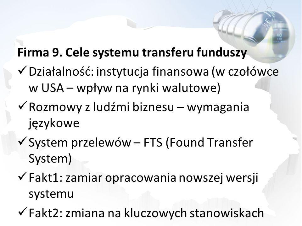Firma 9. Cele systemu transferu funduszy Działalność: instytucja finansowa (w czołówce w USA – wpływ na rynki walutowe) Rozmowy z ludźmi biznesu – wym