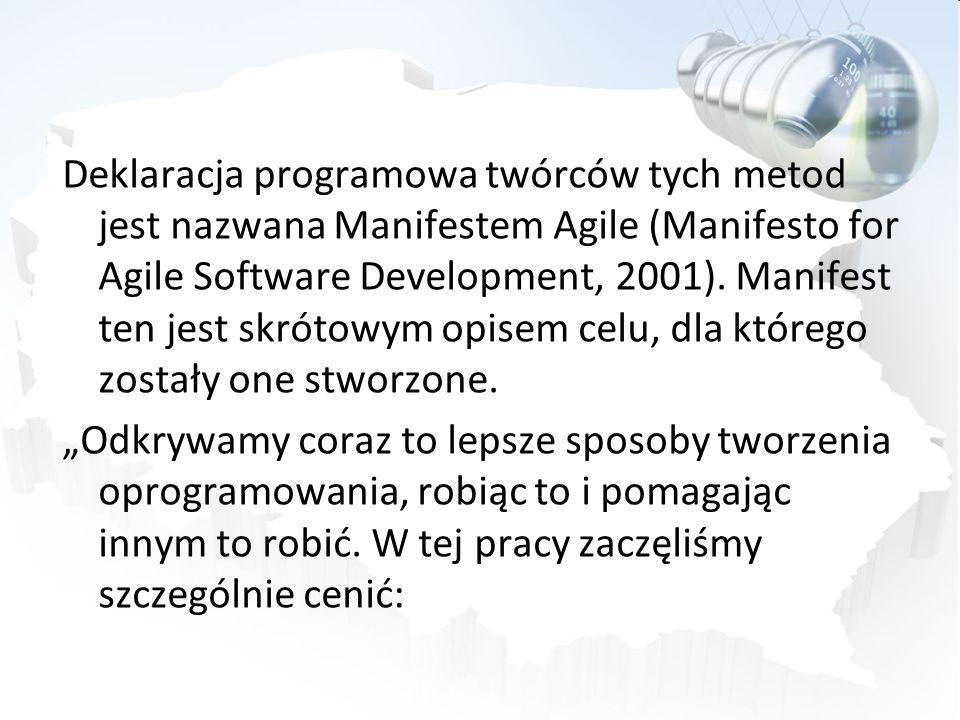 Deklaracja programowa twórców tych metod jest nazwana Manifestem Agile (Manifesto for Agile Software Development, 2001). Manifest ten jest skrótowym o