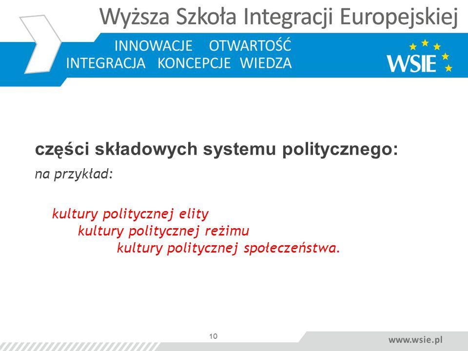 10 części składowych systemu politycznego: na przykład: kultury politycznej elity kultury politycznej reżimu kultury politycznej społeczeństwa.