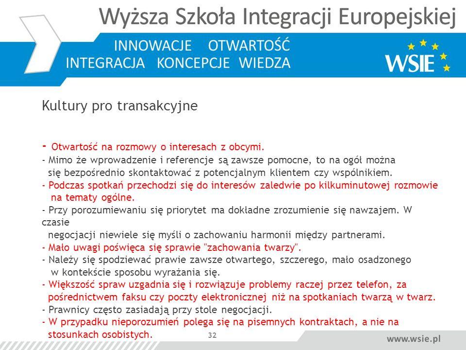 32 Kultury pro transakcyjne - Otwartość na rozmowy o interesach z obcymi. - Mimo że wprowadzenie i referencje są zawsze pomocne, to na ogół można się