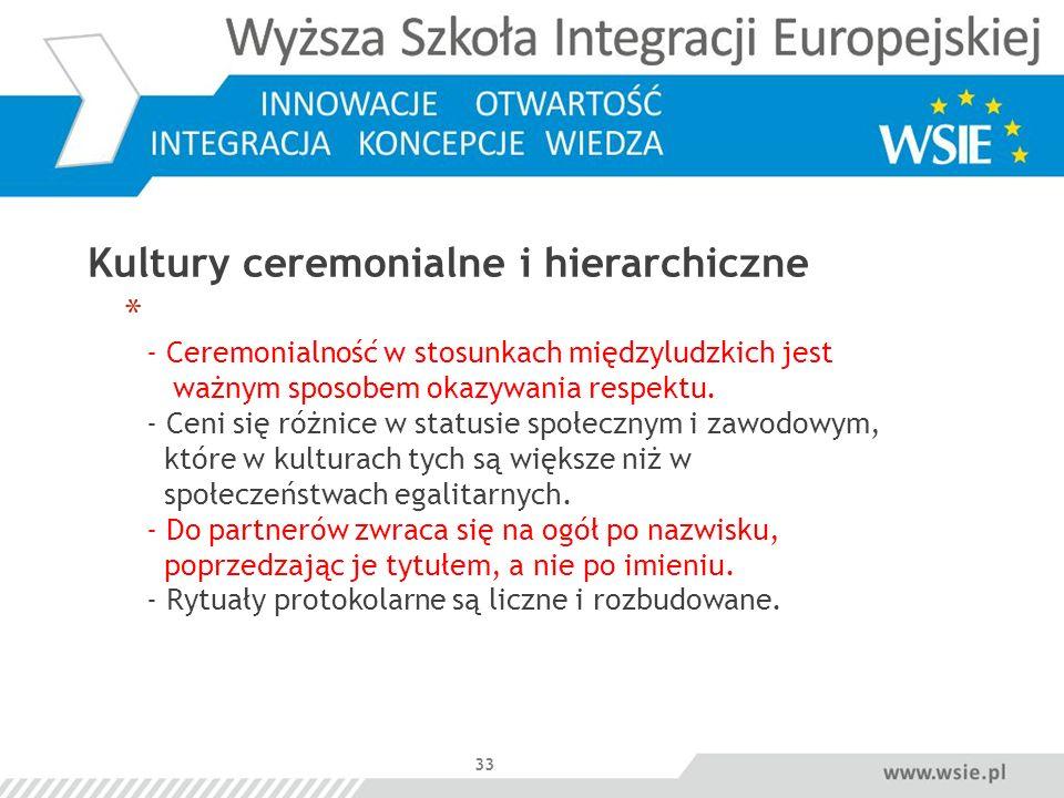33 Kultury ceremonialne i hierarchiczne * - Ceremonialność w stosunkach międzyludzkich jest ważnym sposobem okazywania respektu. - Ceni się różnice w