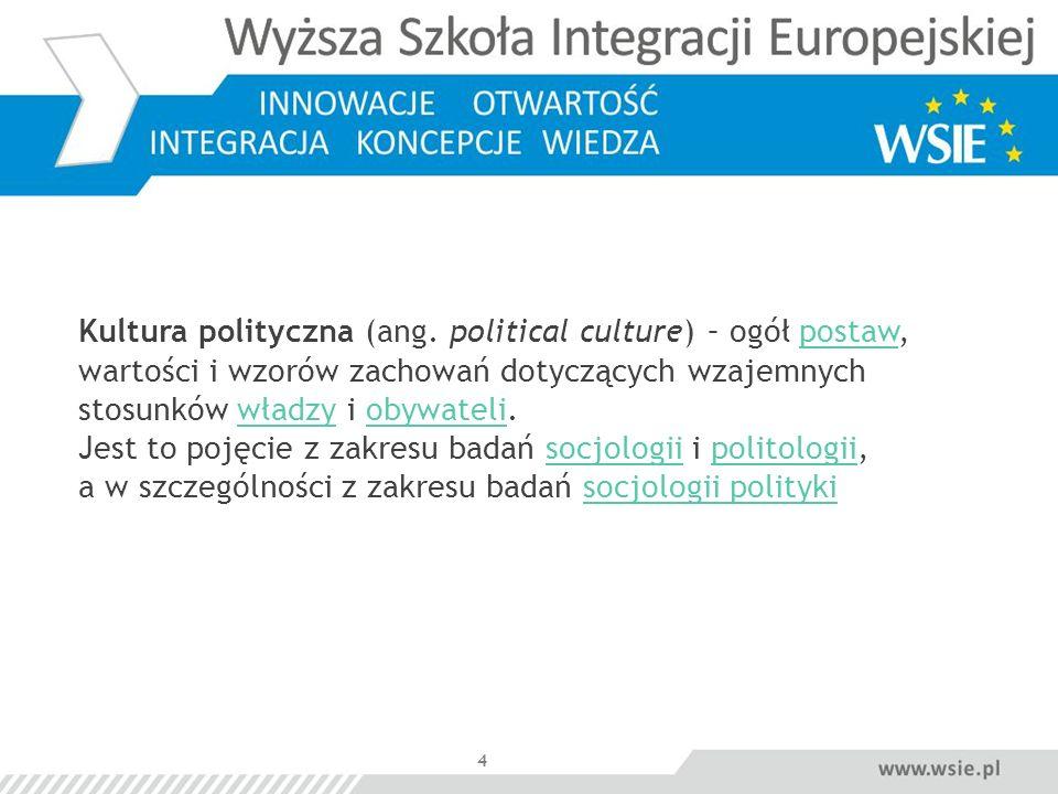 4 Kultura polityczna (ang. political culture) – ogół postaw, wartości i wzorów zachowań dotyczących wzajemnych stosunków władzy i obywateli. Jest to p