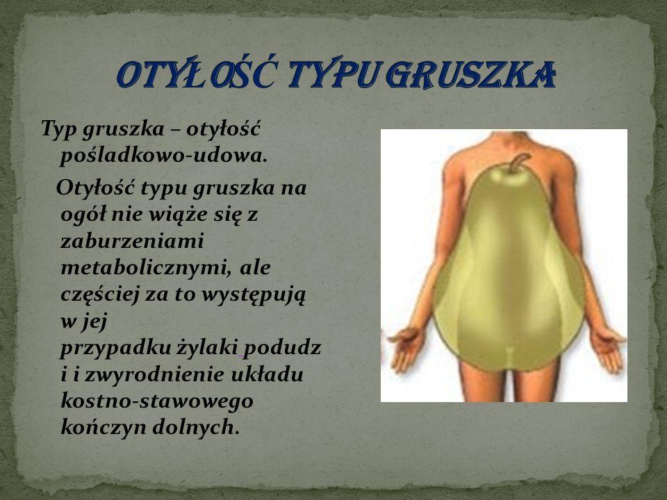 Typ gruszka – otyłość pośladkowo-udowa. Otyłość typu gruszka na ogół nie wiąże się z zaburzeniami metabolicznymi, ale częściej za to występują w jej p