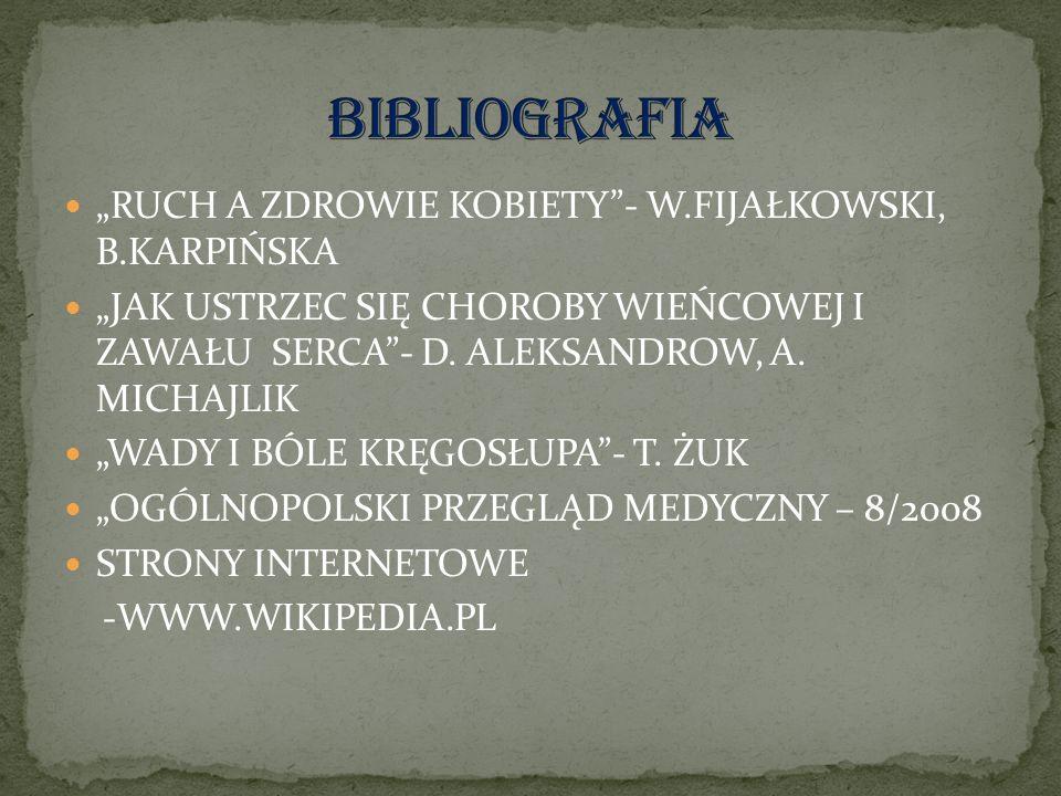 RUCH A ZDROWIE KOBIETY- W.FIJAŁKOWSKI, B.KARPIŃSKA JAK USTRZEC SIĘ CHOROBY WIEŃCOWEJ I ZAWAŁU SERCA- D.