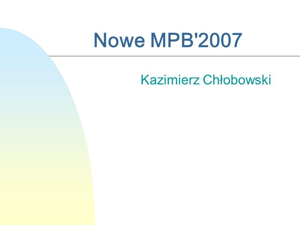 Nowe MPB'2007 Kazimierz Chłobowski