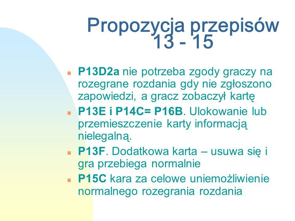 Propozycja przepisów 13 - 15 n P13D2a nie potrzeba zgody graczy na rozegrane rozdania gdy nie zgłoszono zapowiedzi, a gracz zobaczył kartę n P13E i P1