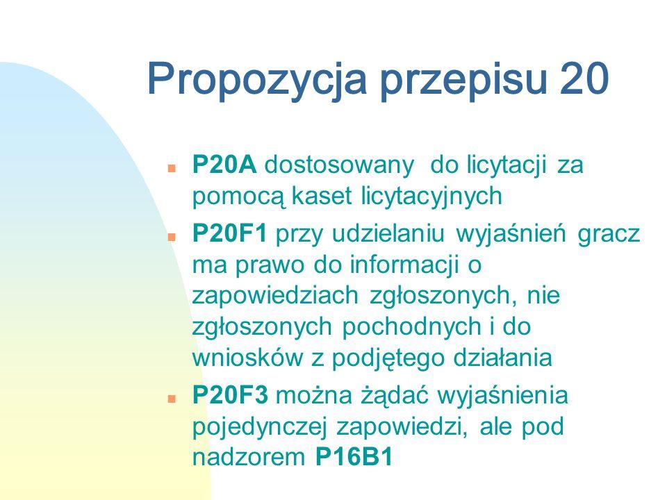 Propozycja przepisu 20 n P20A dostosowany do licytacji za pomocą kaset licytacyjnych n P20F1 przy udzielaniu wyjaśnień gracz ma prawo do informacji o zapowiedziach zgłoszonych, nie zgłoszonych pochodnych i do wniosków z podjętego działania n P20F3 można żądać wyjaśnienia pojedynczej zapowiedzi, ale pod nadzorem P16B1