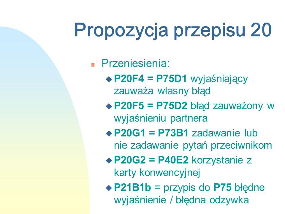 Propozycja przepisu 20 n Przeniesienia: u P20F4 = P75D1 wyjaśniający zauważa własny błąd u P20F5 = P75D2 błąd zauważony w wyjaśnieniu partnera u P20G1 = P73B1 zadawanie lub nie zadawanie pytań przeciwnikom u P20G2 = P40E2 korzystanie z karty konwencyjnej u P21B1b = przypis do P75 błędne wyjaśnienie / błędna odzywka