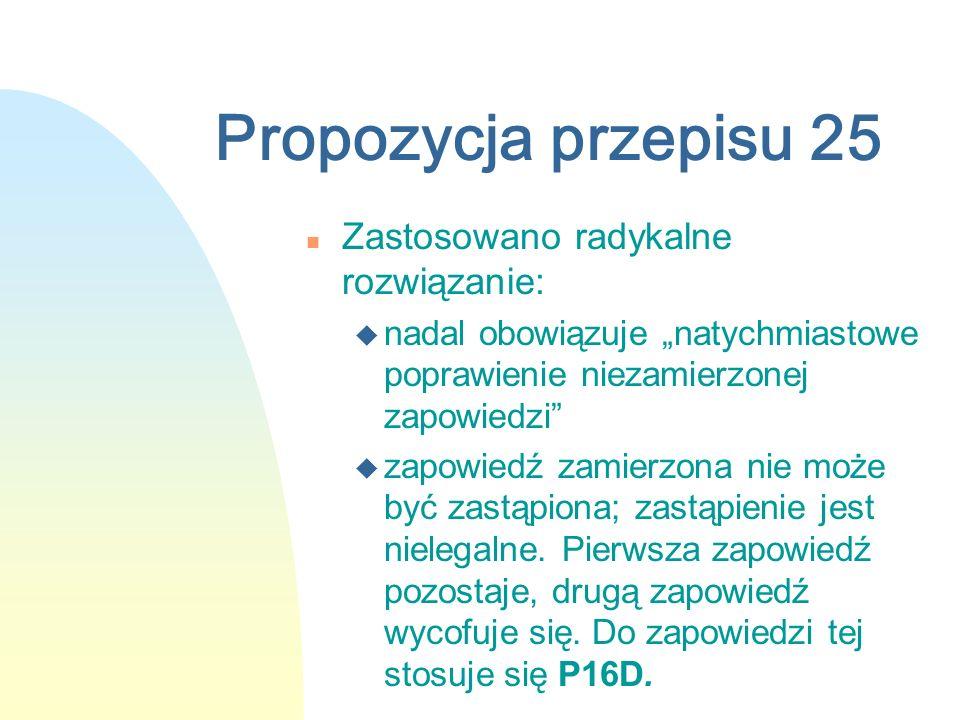 Propozycja przepisu 25 n Zastosowano radykalne rozwiązanie: u nadal obowiązuje natychmiastowe poprawienie niezamierzonej zapowiedzi u zapowiedź zamierzona nie może być zastąpiona; zastąpienie jest nielegalne.