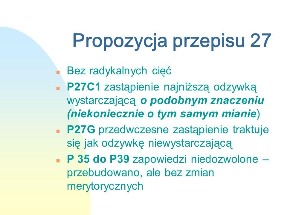 Propozycja przepisu 27 n Bez radykalnych cięć n P27C1 zastąpienie najniższą odzywką wystarczającą o podobnym znaczeniu (niekoniecznie o tym samym mian