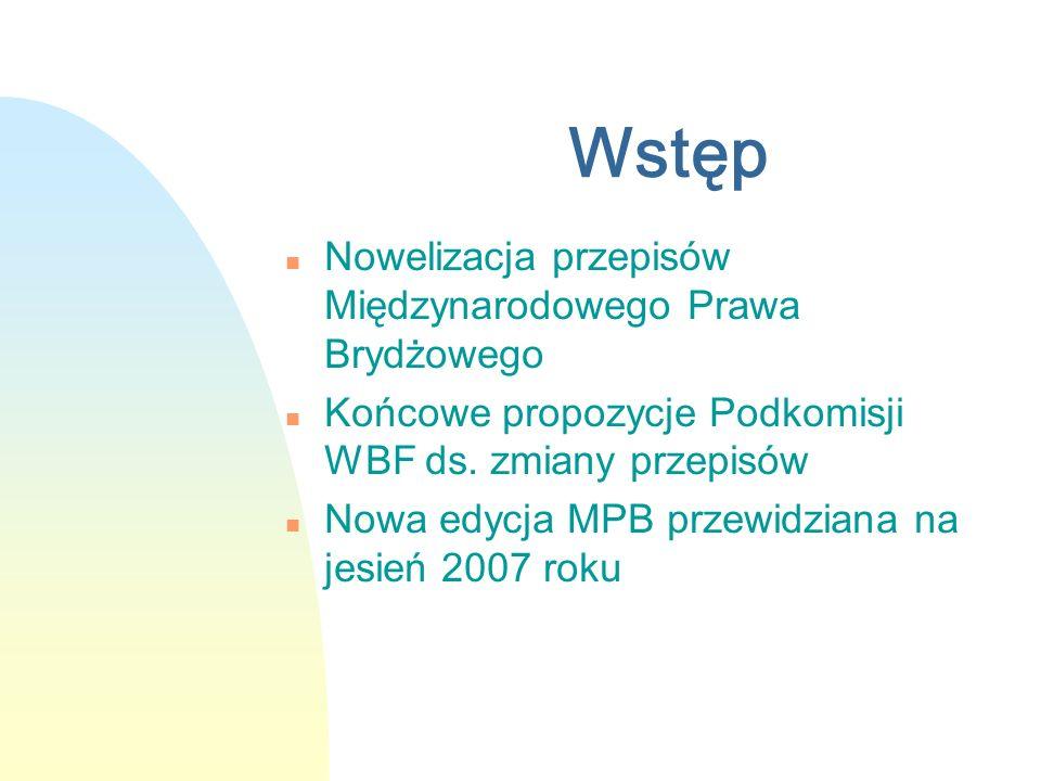 Wstęp n Nowelizacja przepisów Międzynarodowego Prawa Brydżowego n Końcowe propozycje Podkomisji WBF ds. zmiany przepisów n Nowa edycja MPB przewidzian