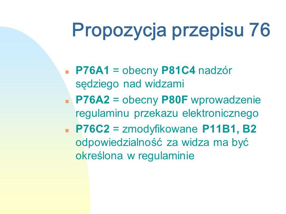 Propozycja przepisu 76 n P76A1 = obecny P81C4 nadzór sędziego nad widzami n P76A2 = obecny P80F wprowadzenie regulaminu przekazu elektronicznego n P76C2 = zmodyfikowane P11B1, B2 odpowiedzialność za widza ma być określona w regulaminie