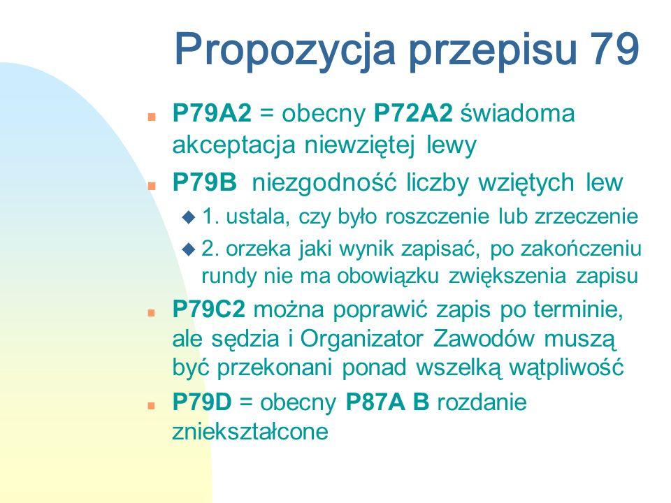Propozycja przepisu 79 n P79A2 = obecny P72A2 świadoma akceptacja niewziętej lewy n P79B niezgodność liczby wziętych lew u 1. ustala, czy było roszcze