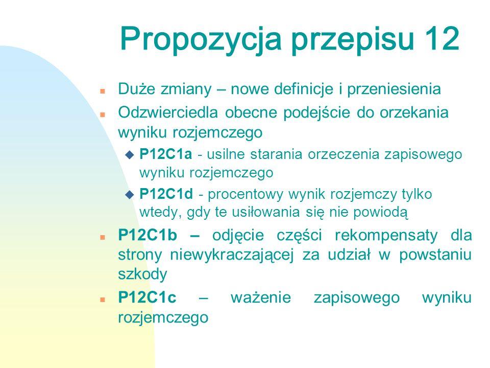 Propozycja przepisu 12 n Duże zmiany – nowe definicje i przeniesienia n Odzwierciedla obecne podejście do orzekania wyniku rozjemczego u P12C1a - usil