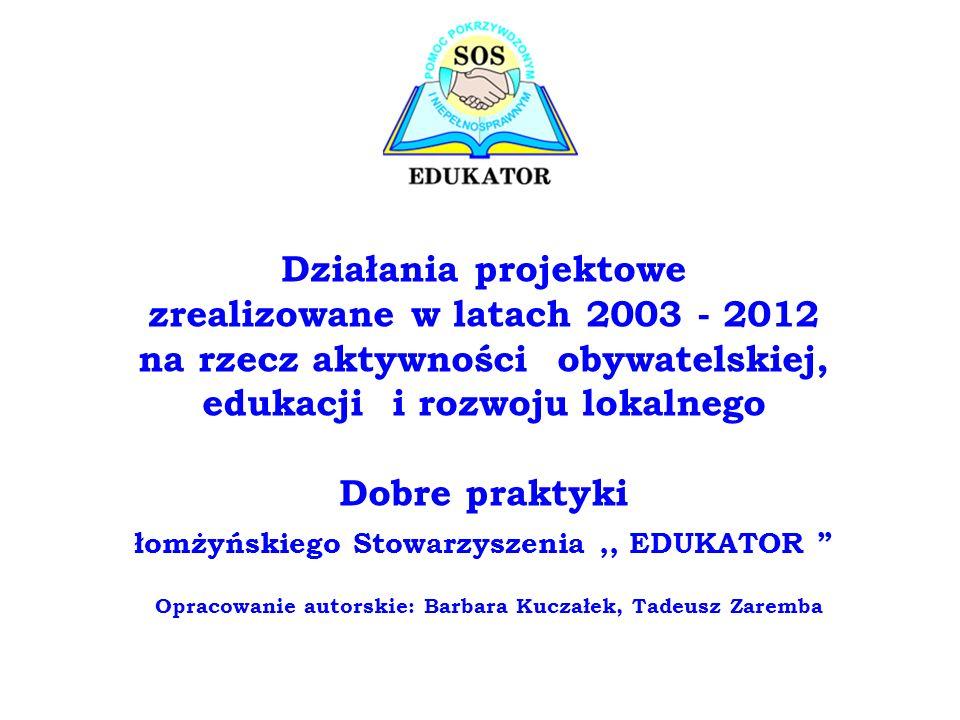 Działania projektowe zrealizowane w latach 2003 - 2012 na rzecz aktywności obywatelskiej, edukacji i rozwoju lokalnego Dobre praktyki łomżyńskiego Sto