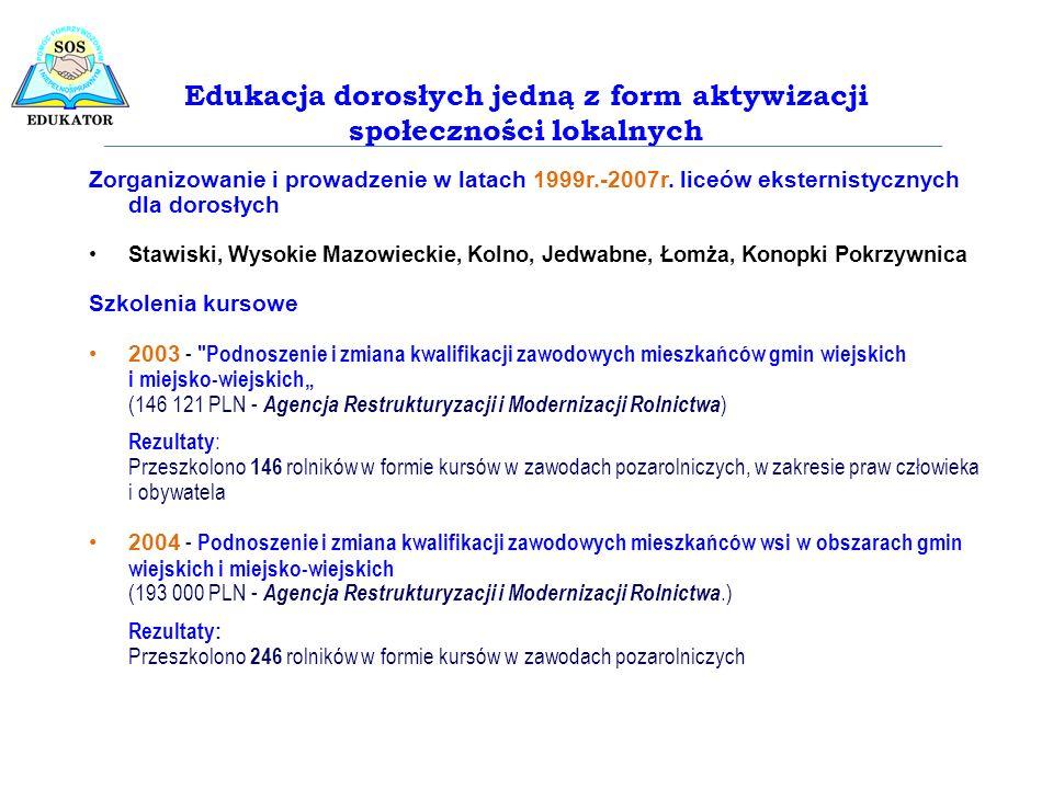 Zorganizowanie i prowadzenie w latach 1999r.-2007r. liceów eksternistycznych dla dorosłych Stawiski, Wysokie Mazowieckie, Kolno, Jedwabne, Łomża, Kono