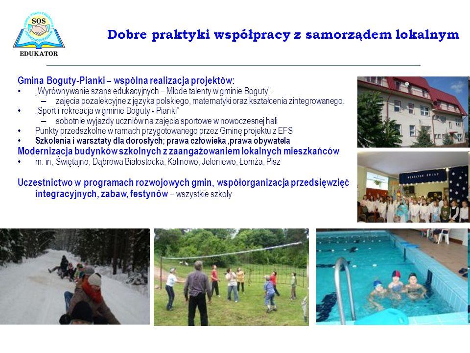 Gmina Boguty-Pianki – wspólna realizacja projektów: Wyrównywanie szans edukacyjnych – Młode talenty w gminie Boguty. – zajęcia pozalekcyjne z języka p